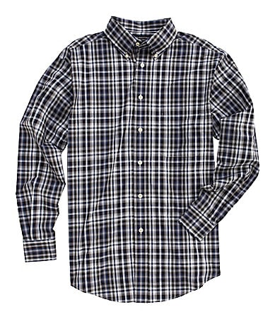 Roundtree & Yorke Long-Sleeve Silky Finish Plaid Sportshirt
