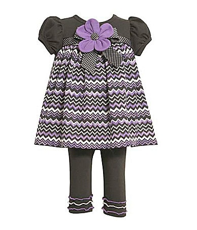 Bonnie Baby Infant Zigzag Printed Top & Leggings Set
