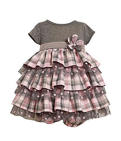Bonnie Baby Infant Plaid Tulle Dress