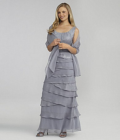 J.R. Nites Woman Tiered Gown with Shawl