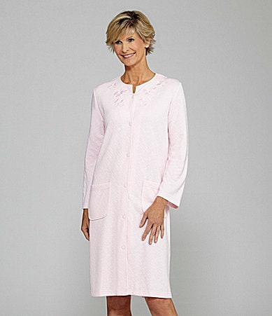 Miss Elaine Quilt In Knit Long Button Front Robe