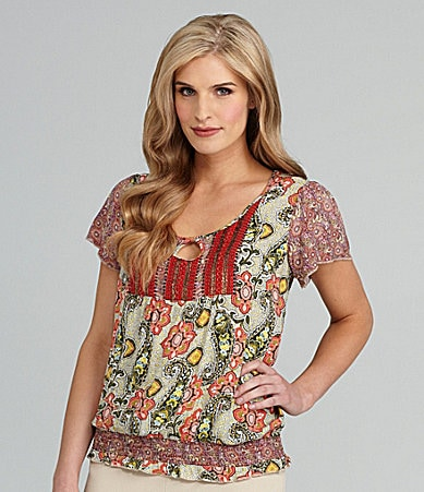 One World Apparel Floral-Print Paisley Top
