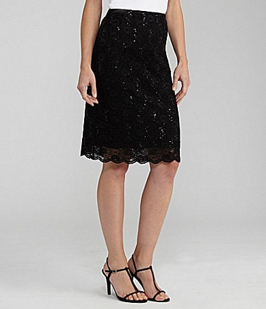 Alex Evenings Sequin Lace Skirt