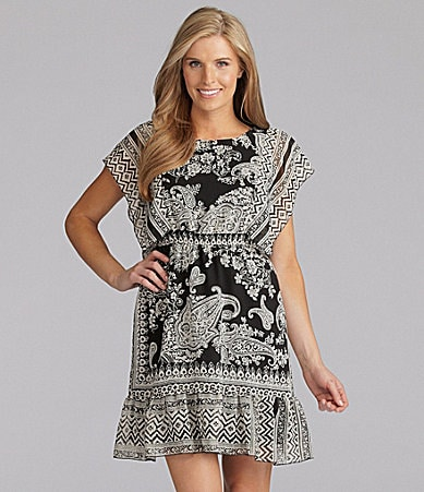 One World Apparel Scarf Border Print Dress