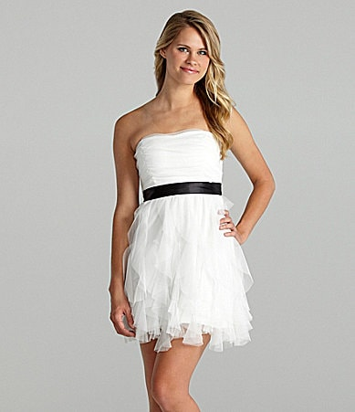 Teeze Me Strapless Tiered Mesh Dress