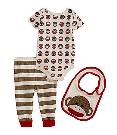 Baby Starters Newborn 3-Piece Sock Monkey Pant Set