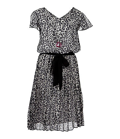 Extraordinary7-16 Animal-Print Chiffon Dress