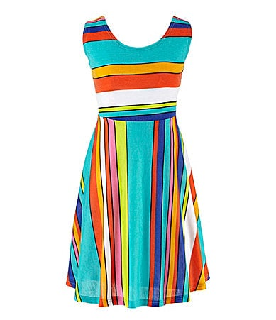 Ruby Rox 7-16 Stripe Printed Skater Dress