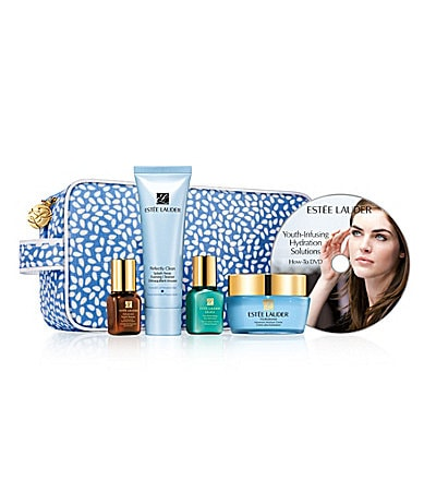Estee Lauder Youth-Infusing Hydration Solutions Skincare Travel Set with Full-Size Moisturizer & DVD