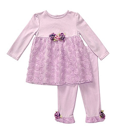 Sweet Heart Rose Infant Rosette Dress & Leggings Set