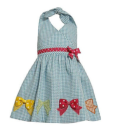 Bonnie Jean 2T-6X Seersucker Gingham Print Halter Dress