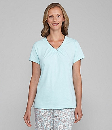 Sleep Sense Top Solid V-Neck Top