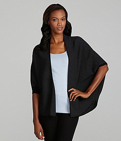 Eileen Fisher Open-Front Striped Oval Cardigan