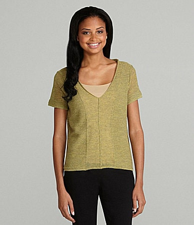 Eileen Fisher Petites Wool V-Neck Knit Top