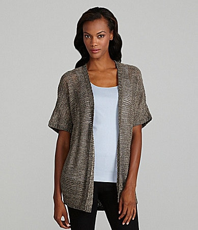 Eileen Fisher Petites Oval Variegated Sparkle Open-Front Cardigan