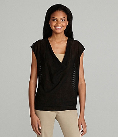 Eileen Fisher Petites Mesh-Back Top