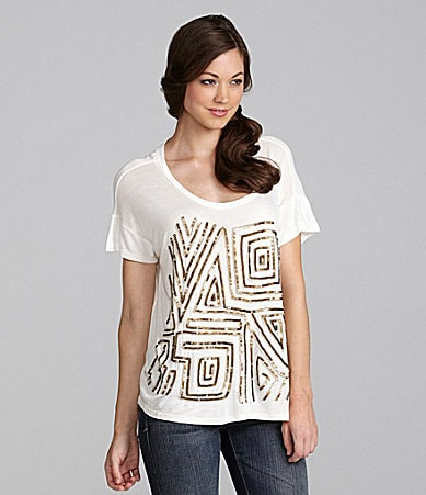 Awake Short-Sleeve Sequin Top