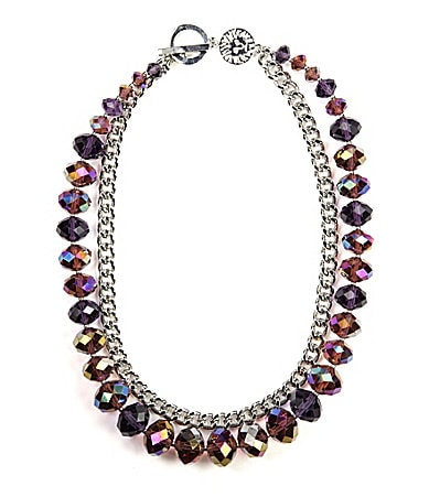 AK Anne Klein Groton Purple Beaded Frontal Necklace