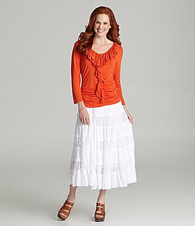 Reba Cascading Ruffle Knit Top & Lace Tiered Skirt
