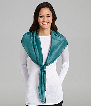 Eileen Fisher Whisper-Silk Bead-Trim Scarf