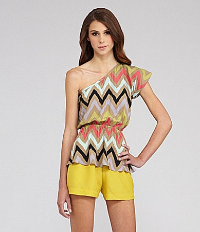 BCBGeneration One-Shoulder Cheveron-Stripe Top & Crepe Cutout-Detail Shorts