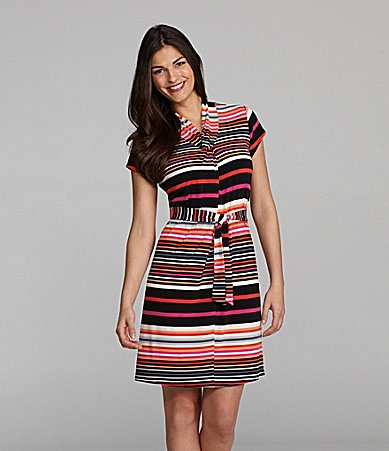 Alex Marie Elaine Striped Tie-Front Knit Dress