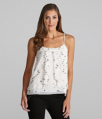 Kensie Ruffle Painterly Dots Tank