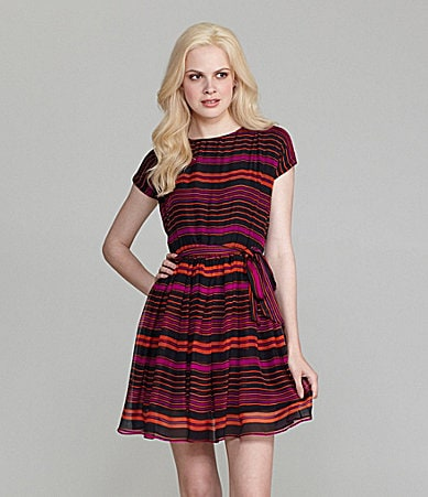 Aryn K. Striped Tie-Front Dress