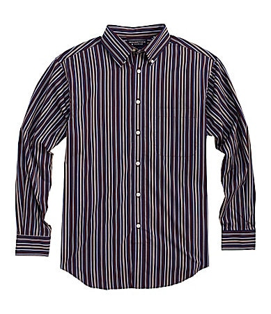 Roundtree & Yorke Long-Sleeve Silky Finish Striped Sportshirt