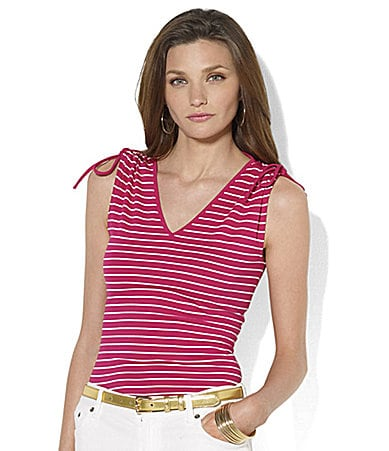 Lauren by Ralph Lauren Roseanne Striped Sleeveless Cotton Drawstring Top