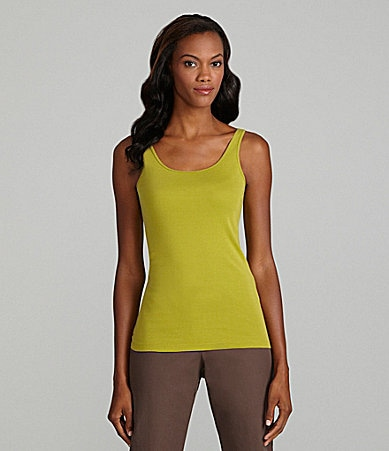 Eileen Fisher Petites Organic-Cotton Scoopneck Tank