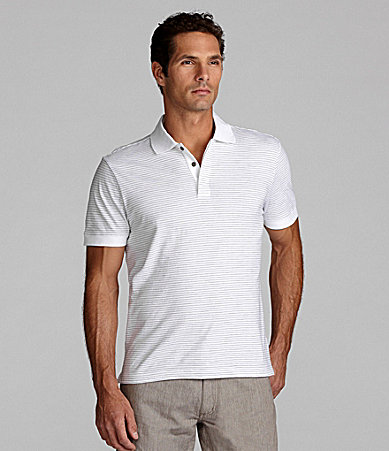 Perry Ellis Fine-Stripe Polo Shirt