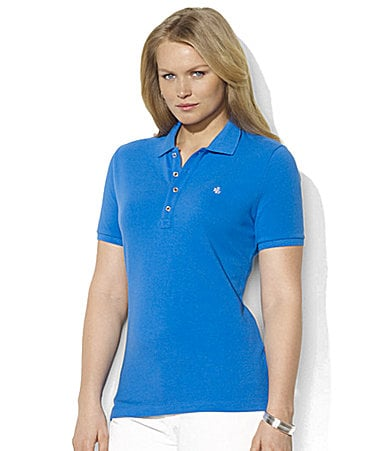 Lauren Ralph Lauren Woman Sharon Short-Sleeved Cotton Mesh Polo