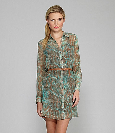 Kensie Textured Snake-Print Shirtdress