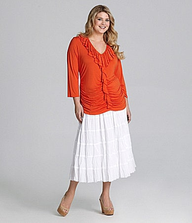 Reba Woman Ruched Front Ruffle Top & Crinkle Cotton Skirt