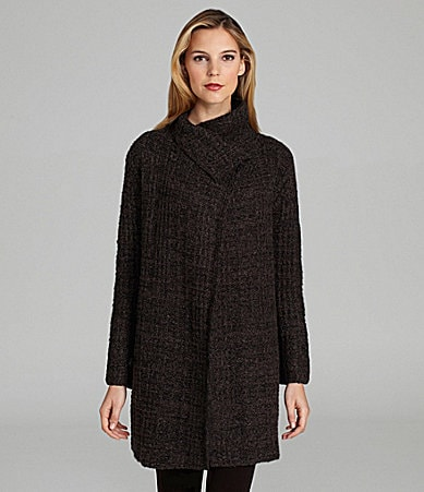 Eileen Fisher Woman Plaid Mockneck Jacket