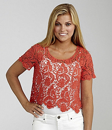 Copper Key Crochet Knit Popover Top