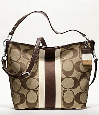 COACH HAMPTONS WEEKEND SIGNATURE STRIPE SHOULDER BAG