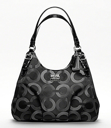 COACH MADISON OP ART MULTI SATEEN MAGGIE SHOULDER BAG