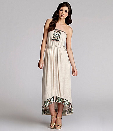 THML Strapless Tribal-Embroidered Dress