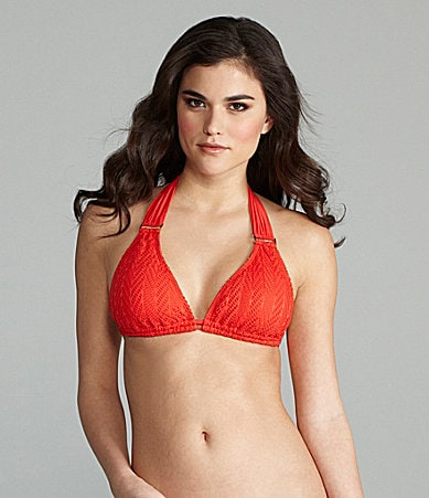 Gianni Bini Swim Crochet Ring Halter Top