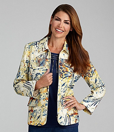 Samantha Grey Novelty Crushed Butterfly-Print Jacket