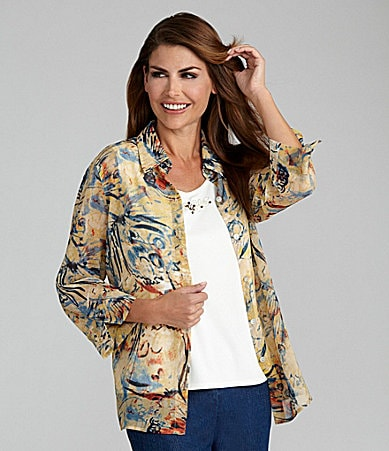 Samantha Grey Woven Butterfly Print Shirt & Embellished Shell
