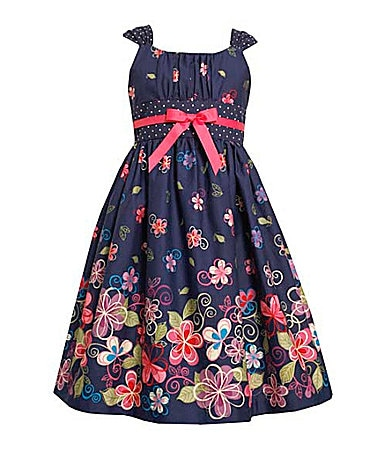 Bonnie Jean 4-6X  Floral Border Print Dress