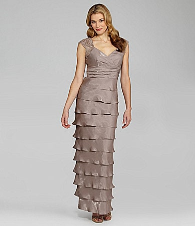 Jessica Howard Petites Shutter-Pleat Gown