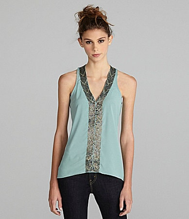 MM Couture by Miss Me V-Neck Bead-Trim Blouse