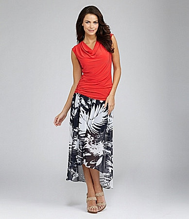 Vince Camuto Drape Neck Top & Abstract Leaf Tie Maxi Skirt