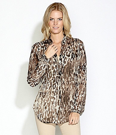 Karen Kane Metallic Sheer Animal-Print Blouse