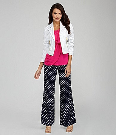 Vince Camuto Mixed-Media Ruffle Knit Top, Cropped Moto Jacket & Polka-Dot Wide-Leg Pant