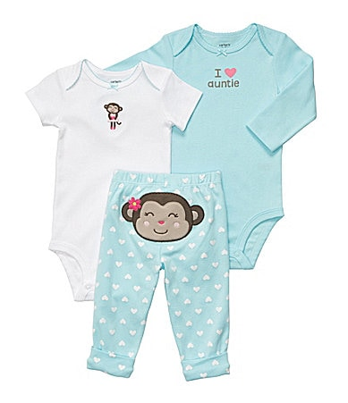 Carter�s Newborn Monkey 3-Piece Bodysuit Set